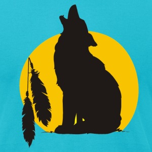 Turquoise Howling wolve T-Shirts (Short sleeve) - Men's T-Shirt by American Apparel