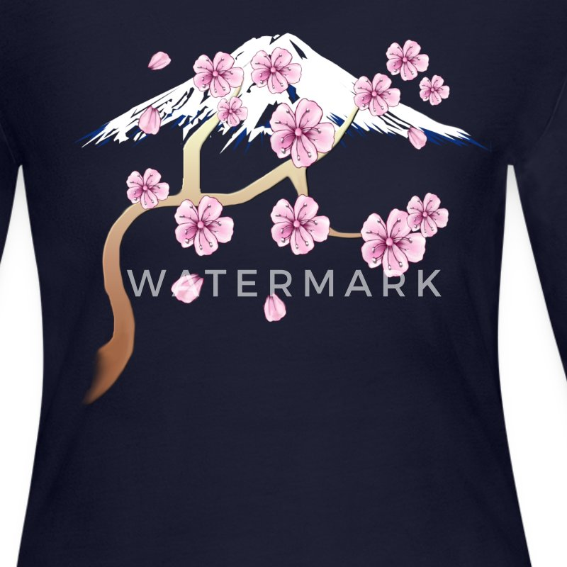 Cherry Blossoms and Mt. Fuji - Women's Long Sleeve Jersey T-Shirt