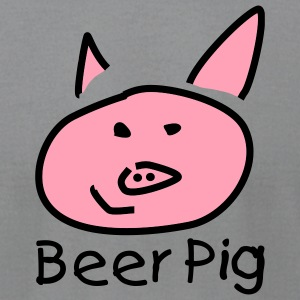 Slate Beer Pig T-Shirts - Men's T-Shirt by American Apparel