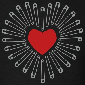 Heart and Safety Pins - Men's T-Shirt
