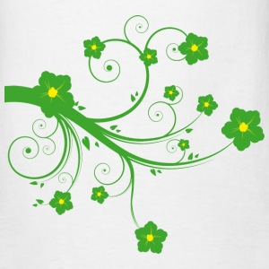 White Green Flowers T-Shirts - Men's T-Shirt