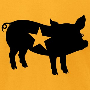 Gold ::STAR PIG:: T-Shirts - Men's T-Shirt by American Apparel