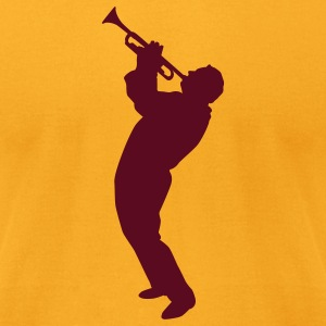 Gold trumpet player T-Shirts - Men's T-Shirt by American Apparel