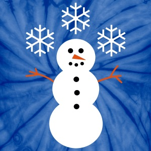 Happy Snowman with Snow - Unisex Tie Dye T-Shirt