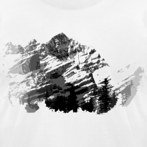 White Vintage  Mountain Range Design T-Shirts - Men's T-Shirt by American Apparel