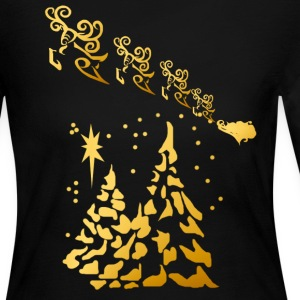 Gold Trees and Santas Reindeer  - Women's Long Sleeve Jersey T-Shirt