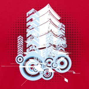 Red Cool asian tower and circle shapes T-Shirts - Men's T-Shirt by American Apparel