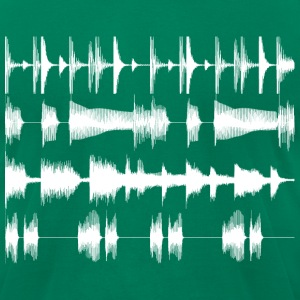 4 track waveforms - white large T-Shirts Kelly green - Men's T-Shirt by American Apparel