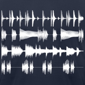 4 track waveforms - white large T-Shirts Navy - Men's T-Shirt by American Apparel