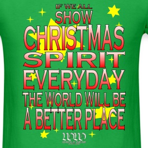 Bright green Christmas Spirit (Red version) T-Shirts - Men's T-Shirt