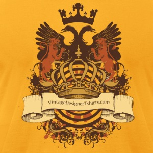Gold VintageDesignerTshirts.com Logo Crest Heraldy T-Shirts - Men's T-Shirt by American Apparel