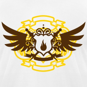White Pyro Maniac & Sword Crest Flex Print T-Shirts - Men's T-Shirt by American Apparel