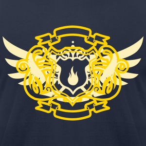 Navy Pyro Maniac & Sword Crest Flex Print T-Shirts - Men's T-Shirt by American Apparel
