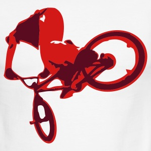 White/red Extreme BMX Bike Flex Print Design T-Shirts - Men's Ringer T-Shirt
