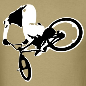 Khaki Extreme BMX Bike Flex Print Design T-Shirts - Men's T-Shirt
