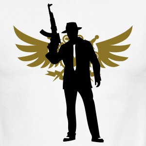 White/black Modern gangsterAK-47 T-Shirts - Men's Ringer T-Shirt