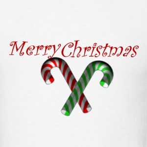Merry Christmas  w/candycanes - Men's T-Shirt
