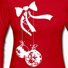 Red ornament - white Long sleeve shirts