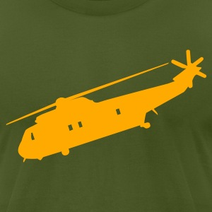 Olive Cool Military helicopter Flex Graphic T-Shirts - Men's T-Shirt by American Apparel