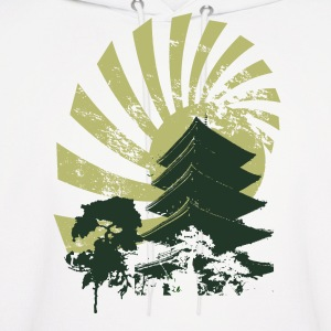 White Vintage Sun and Chinese Tower Green Hoodies - Men's Hoodie