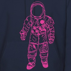 Navy moon man Pink Hoodies