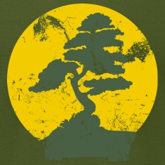 Olive Vintage Bonzai Tree Graphic T-Shirts