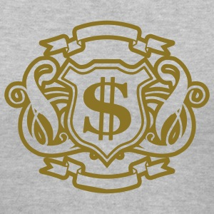 Gray Reflective Gold and Silver Money Graphic Women's T-shirts - Women's V-Neck T-Shirt