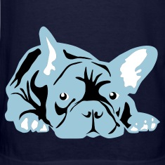 Navy French Bulldog big T-Shirts