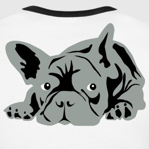 White/black French Bulldog  T-Shirts - Men's Ringer T-Shirt