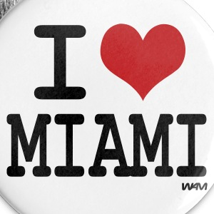 White i love miami by wam Buttons - Large Buttons