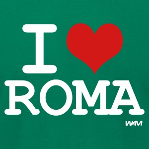 Kelly green i love roma by wam T-Shirts - Men's T-Shirt by American Apparel