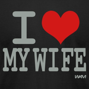 Black i love my wife by wam T-Shirts - Men's T-Shirt by American Apparel
