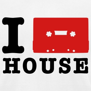 White i love house music T-Shirts - Men's T-Shirt by American Apparel