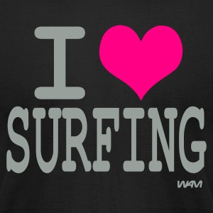 Black i love surfing by wam T-Shirts - Men's T-Shirt by American Apparel