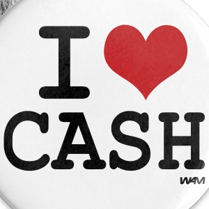 White i love cash  by wam Buttons - Large Buttons