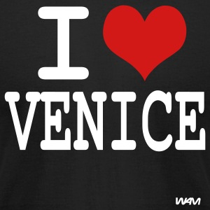 Black i love venice by wam T-Shirts - Men's T-Shirt by American Apparel