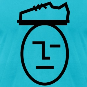 Turquoise shoe_on_head T-Shirts - Men's T-Shirt by American Apparel
