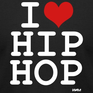 Black i love hip hop by wam T-Shirts - Men's T-Shirt by American Apparel