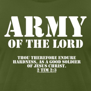 Olive Army of the Lord, Christian T-Shirts with Bible Ve T-Shirts - Men's T-Shirt by American Apparel