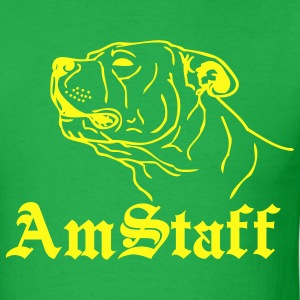 Bright green americanstaffy2b T-Shirts - Men's T-Shirt