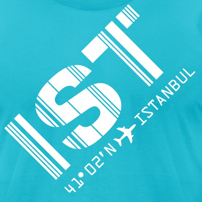 Istanbul Airport Code Turkey IST Cyan Angled Fitted T-shirt