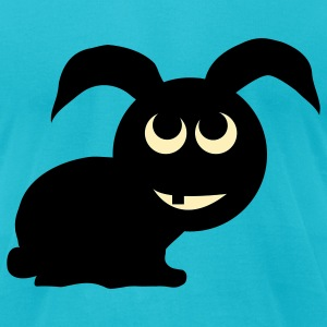 Turquoise Bunny T-Shirts - Men's T-Shirt by American Apparel