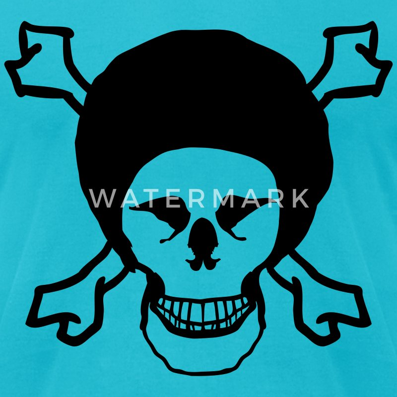 Turquoise Afro Skull T-Shirts - Men's T-Shirt by American Apparel