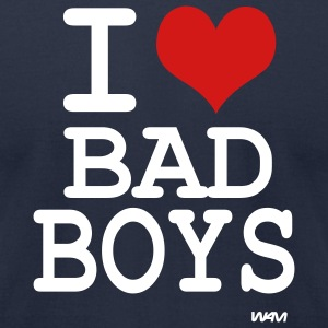 Navy i love bad boys by wam T-Shirts - Men's T-Shirt by American Apparel