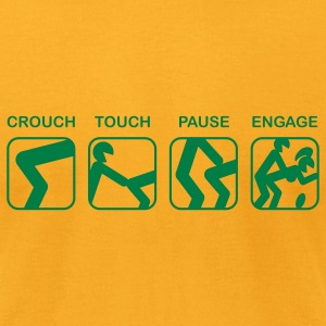 Gold Crouch, Touch, Pause, Engage T-Shirts - Men's T-Shirt by American Apparel