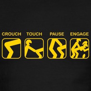 Green/white Crouch, Touch, Pause, Engage T-Shirts - Men's Ringer T-Shirt