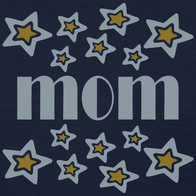 Kool Kids Tees 'Mom With Double Stars, Cutouts' Women's Standard Tee in Navy