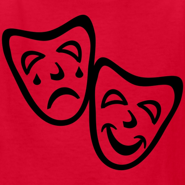 Kool Kids Tees 'Comedy Drama Masks' Kids' Tee in Red