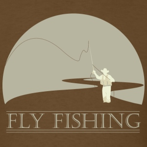 Brown Fly fisherman 2 Fly Fishing shirt design T-Shirts - Men's T-Shirt