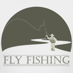 White fly fisherman 1 fly fishing design Long sleeve shirts - Men's Long Sleeve T-Shirt by Next Level